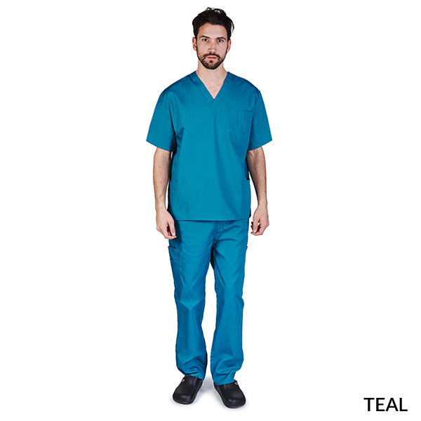 Unisex Solid V Neck Cargo Pocket Scrub Set Style 102